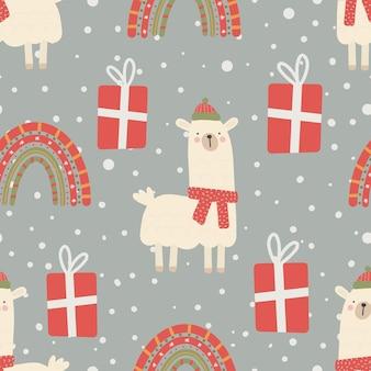 Nahtloses weihnachtsmuster mit lama, regenbogen und geschenken weihnachtsschmuck mit roter und grüner farbe, vektorillustration digitales papier