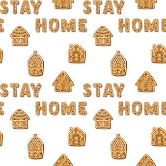 Nahtloses weihnachtsmuster mit lebkuchenhäusern und satz stay home selbstgemachte kekse