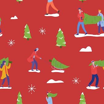 Nahtloses weihnachtsmuster mit leuten, die weihnachtsbäume kaufen und winterferien feiern. männer, frauen charaktere, familie neujahrsfeier hintergrund für tapete, design.