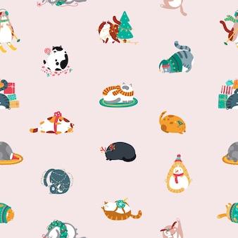 Nahtloses weihnachtsmuster mit lustigen katzen