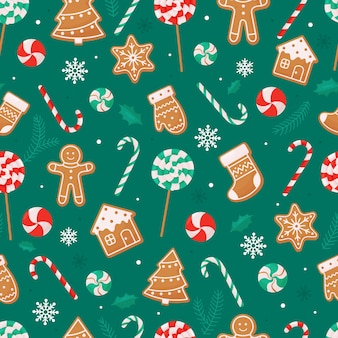 Nahtloses weihnachtsmuster mit lutscher-zuckerstangen-lebkuchenplätzchen