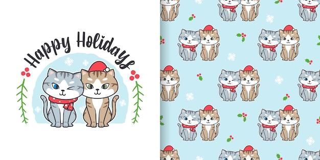 Nahtloses weihnachtsmuster mit niedlichem katzenkarikatur
