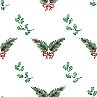 Nahtloses weihnachtsmuster mit niedlichen blättern und band