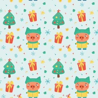 Nahtloses weihnachtsmuster mit niedlichen ferkel- und winterferienelementen. neujahr
