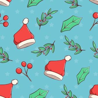 Nahtloses weihnachtsmuster mit niedlicher weihnachtsmütze und blumen