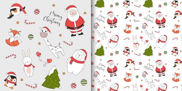 Nahtloses weihnachtsmuster mit pinguin-eisbär-kaninchenfuchs-giraffe-weihnachtsmann und weihnachtsbaum