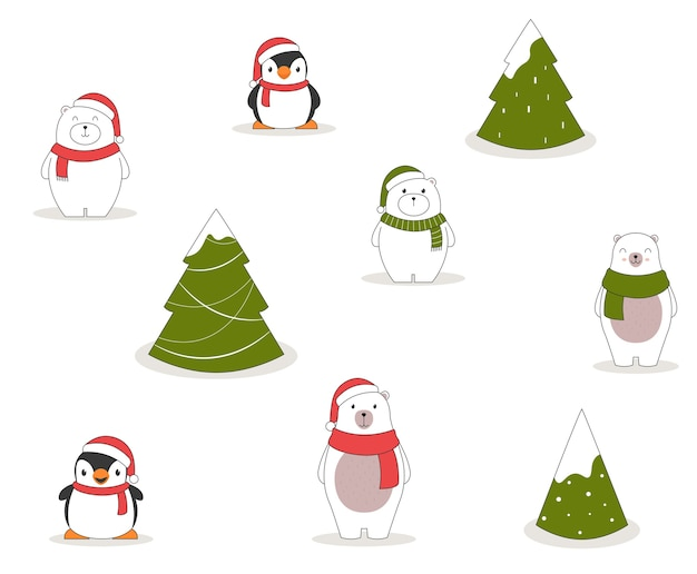Nahtloses weihnachtsmuster mit pinguinen, eisbären und weihnachtsbäumen.
