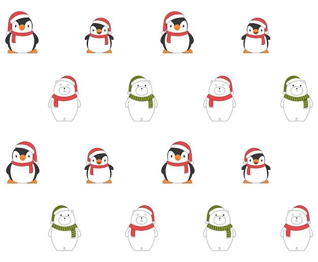 Nahtloses weihnachtsmuster mit pinguinen und eisbären.