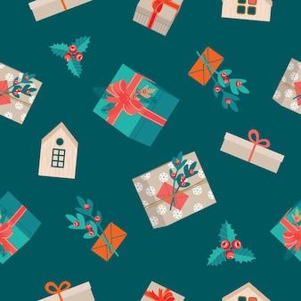 Nahtloses weihnachtsmuster mit podrki und mistel. vektor, trendige farben, öko-stil.