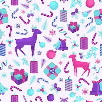 Nahtloses weihnachtsmuster mit rentieren. vektor-illustration.
