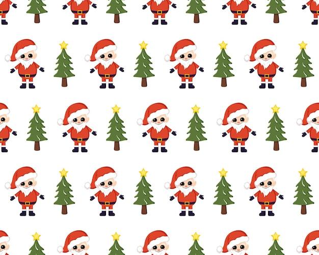 Nahtloses weihnachtsmuster mit roter weihnachtsmann-tasche mit geschenken und hellem druck der bäume für...