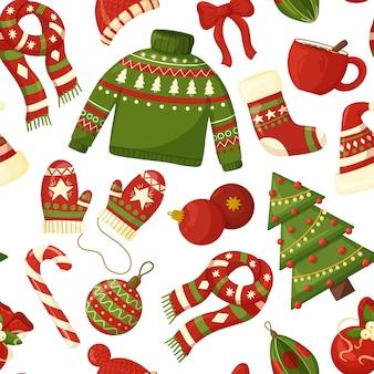 Nahtloses weihnachtsmuster mit saisonalen elementen.