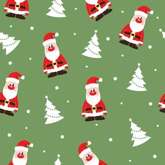 Nahtloses weihnachtsmuster mit santa claus und bäumen