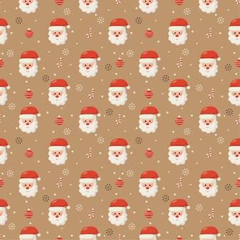 Nahtloses weihnachtsmuster mit santa lokalisiert auf cremefarbenem hintergrund