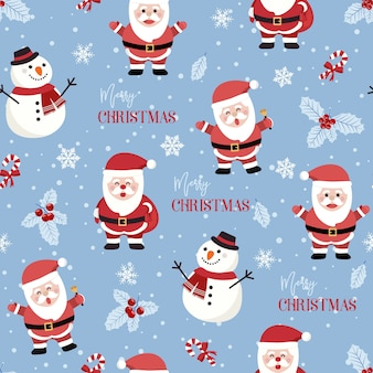 Nahtloses weihnachtsmuster mit santa und schneemannhintergrund