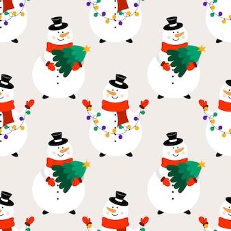 Nahtloses weihnachtsmuster mit schneemännern. flacher vektorhintergrund mit schneemännern im karikaturstil.