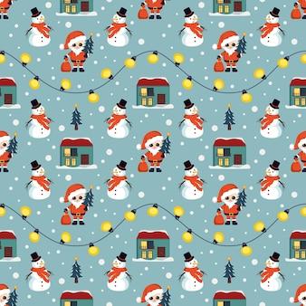 Nahtloses weihnachtsmuster mit schneemännern, weihnachtsmann, haus, schneeflocken und girlanden, hellem druck für ne...