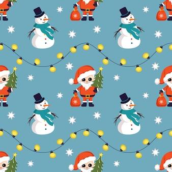 Nahtloses weihnachtsmuster mit schneemännern, weihnachtsmann, schneeflocken und girlanden, hellem druck für das neue jahr...