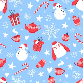 Nahtloses weihnachtsmuster mit schneemann, schneeflocken und neujahrsbonbons