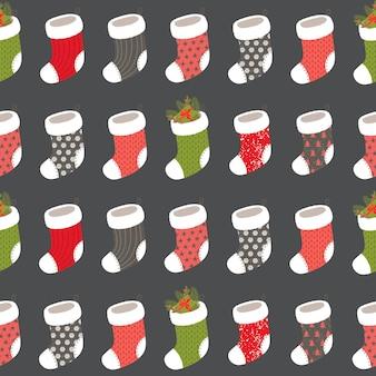 Nahtloses weihnachtsmuster mit socke
