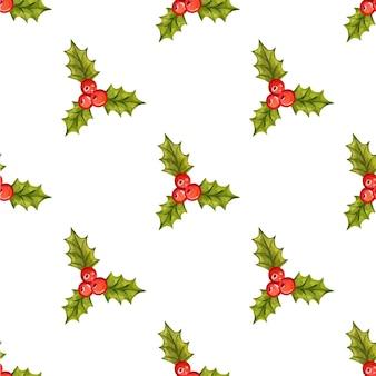 Nahtloses weihnachtsmuster mit stechpalmenbeeren-vektorillustration