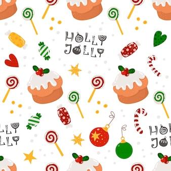 Nahtloses weihnachtsmuster mit süßigkeiten und kuchen