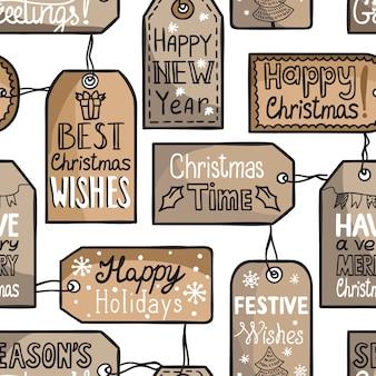 Nahtloses weihnachtsmuster mit tags. weihnachtswünsche