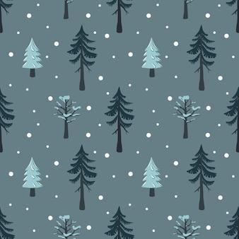 Nahtloses weihnachtsmuster mit tanne und baum im schnee guten rutsch ins neue jahr-druck mit schneeflocken