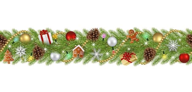 Nahtloses weihnachtsmuster mit tannenzweigen und weihnachtsdekorationen