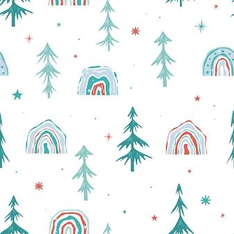 Nahtloses weihnachtsmuster mit weihnachtsbäumen. grüne fichte und ein regenbogen des neuen jahres auf einem weißen hintergrund. minimalistisches design. vektor-illustration