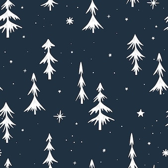 Nahtloses weihnachtsmuster mit weihnachtsbäumen. weiße fichte auf dunklem hintergrund. minimalistisches design. vektor-illustration