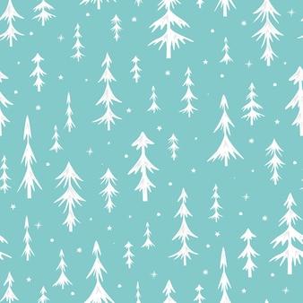 Nahtloses weihnachtsmuster mit weihnachtsbäumen. weiße fichte auf grünem hintergrund. vektor-illustration