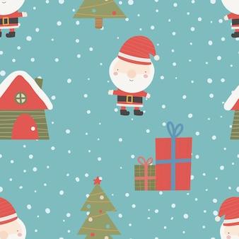 Nahtloses weihnachtsmuster mit weihnachtsbaumschnee und geschenken weihnachtsverzierung