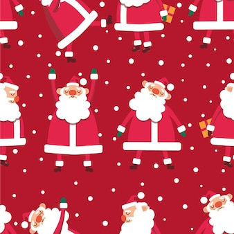 Nahtloses weihnachtsmuster mit weihnachtsmännern und schneeflocken auf rotem hintergrundvektorillustration