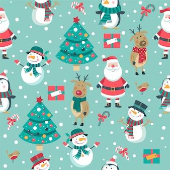 Nahtloses weihnachtsmuster mit weihnachtsmann, hirsch, schneemänner auf blau