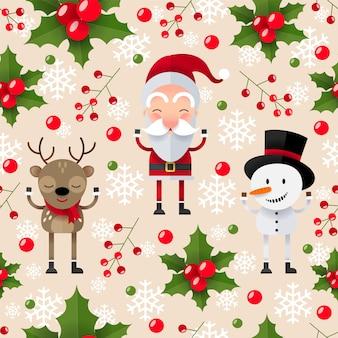 Nahtloses weihnachtsmuster mit weihnachtsmann, hirsch und schneemann