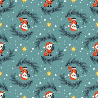 Nahtloses weihnachtsmuster mit weihnachtsmann-tannen sternen und schneeflocken auf blauem hintergrund hell...