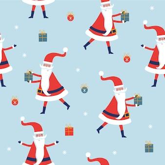 Nahtloses weihnachtsmuster mit weihnachtsmann und geschenken auf blauem muster.