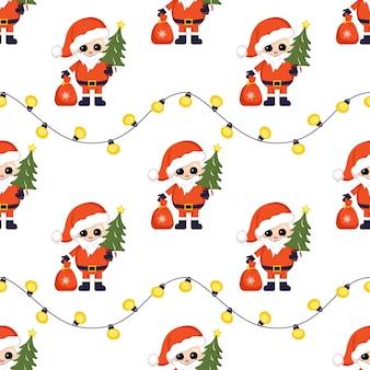 Nahtloses weihnachtsmuster mit weihnachtsmann und girlande. heller druck für neujahr und winterurlaub, geschenkpapier, textilien und designs.