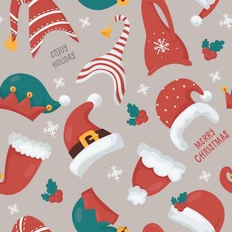 Nahtloses weihnachtsmuster mit weihnachtsmann- und gnomenhüten. illustration für weihnachtseinladungen, t-shirts und scrapbooking