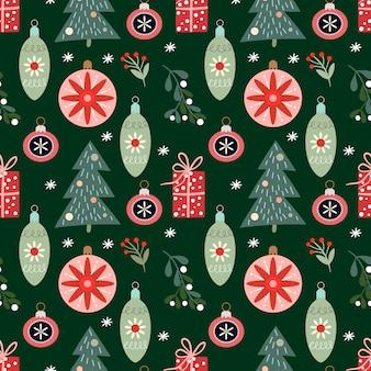 Nahtloses weihnachtsmuster mit winterdesign, weihnachtsbäumen, verzierungen und geschenken