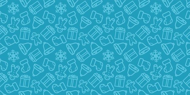 Nahtloses weihnachtsmuster. neujahrsvektorbeschaffenheit. festliche nahtlose blaue verzierung mit weihnachtsikonen.