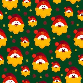 Nahtloses weihnachtsmuster porträt des weihnachtsmannes auf grünem hintergrund