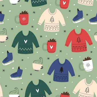 Nahtloses weihnachtsmuster. strickpullover, kakao, schlittschuhe. handgezeichnet einfach.
