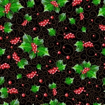 Nahtloses weihnachtsmuster von beeren und von stechpalmenblättern