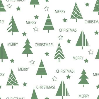 Nahtloses weihnachtsmuster von verzierten neujahrsbäumen