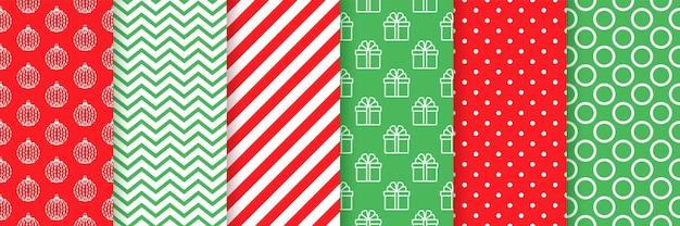 Nahtloses weihnachtsmuster. weihnachten, neujahr druckt. stellen sie urlaubstexturen ein. festliches geschenkpapier.