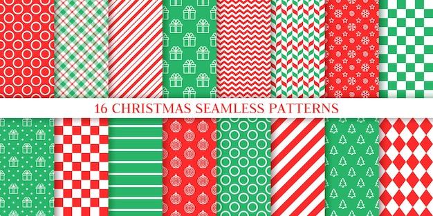 Nahtloses weihnachtsmuster. weihnachten, neujahr textur. hintergründe festlegen. festlicher roter grüner druck