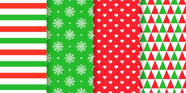 Nahtloses weihnachtsmuster. weihnachten, neujahrshintergrund. . feiertagsbeschaffenheit. stellen sie festliche abstrakte, geometrische textildrucke mit streifen, schneeflocken, herzen, dreiecken ein. rotgrüne illustration