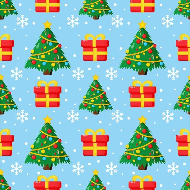 Nahtloses weihnachtsmuster. weihnachtsbaum und geschenkbox